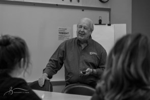 Jim Davis teaches a master class on animation in the Art and Journalism Building on Monday, March 27, 2017. Davis also taught a couple of master classes on campus last semester. || Becca Tapp © 2017