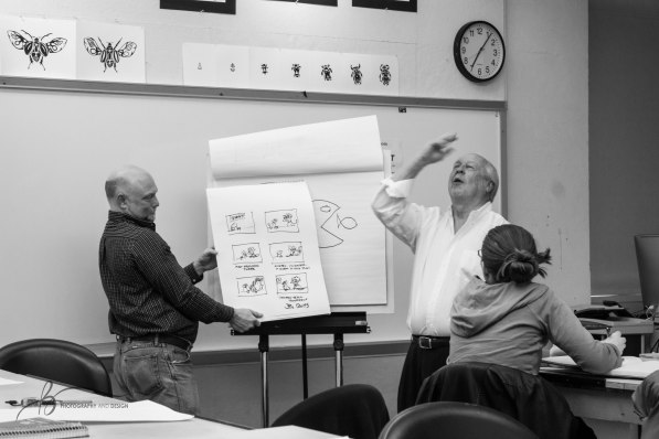 Jim Davis teaches the second and final night of his master class in the Art and Journalism Building on Monday, April 3, 2017. || Becca Tapp © 2017